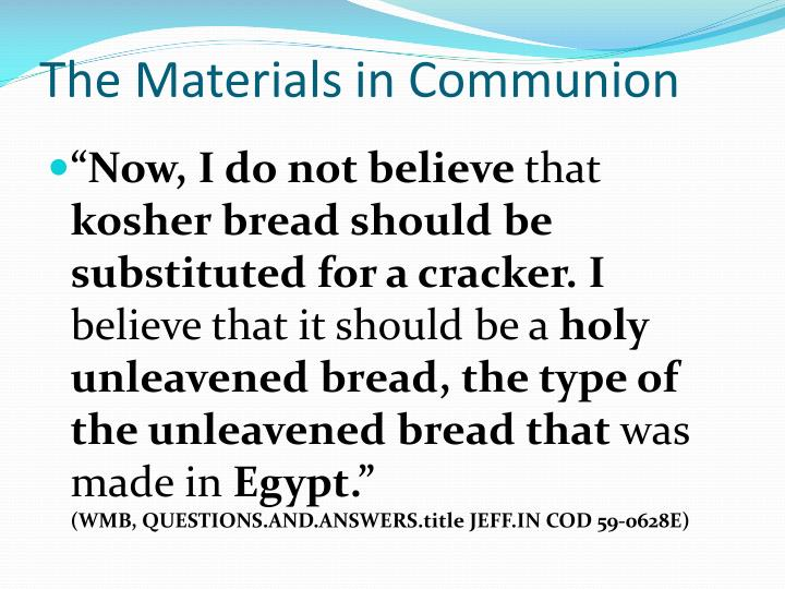 The Materials in Communion