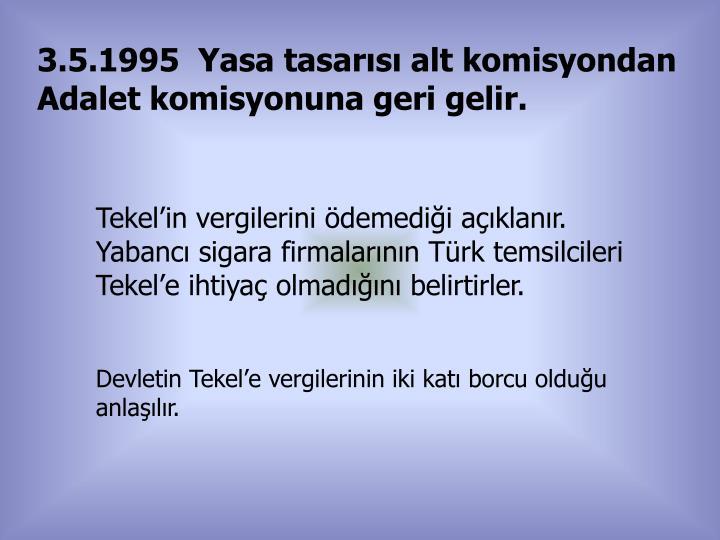 3.5.1995  Yasa tasarısı alt komisyondan