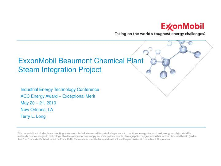 Exxonmobil beaumont chemical plant steam integration project