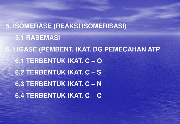 5. ISOMERASE (REAKSI ISOMERISASI)