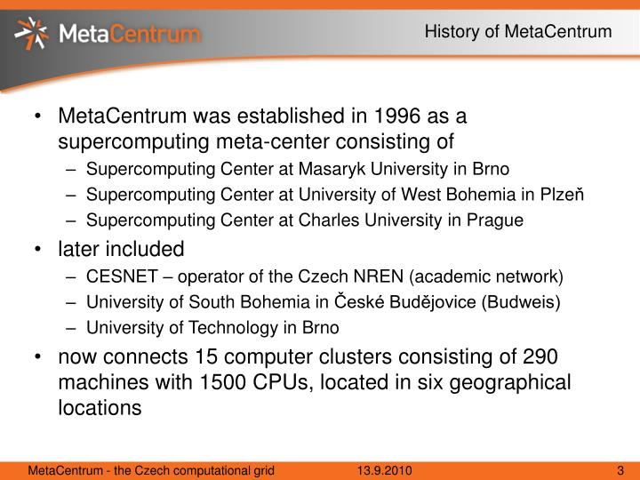 History of metacentrum