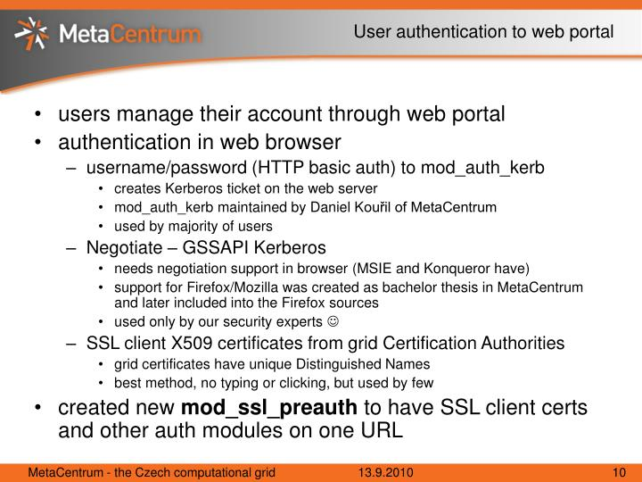 User authentication to web portal
