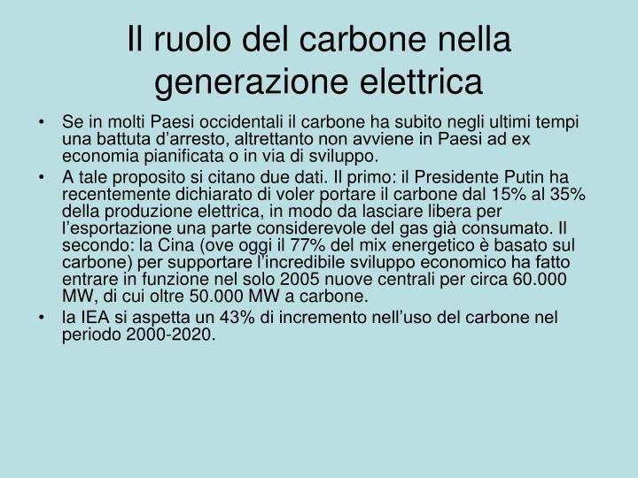 Il ruolo del carbone nella generazione elettrica