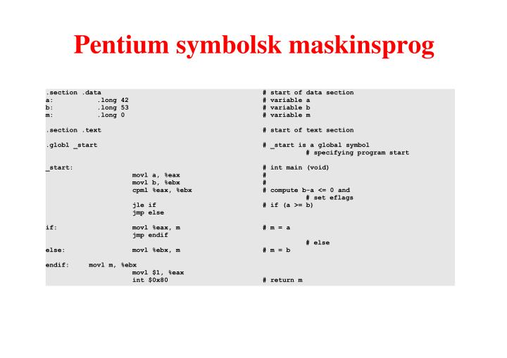 Pentium symbolsk maskinsprog