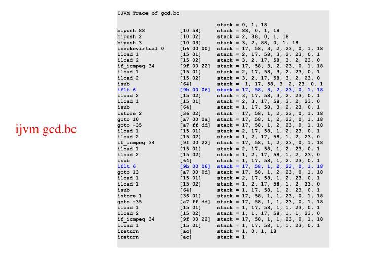 IJVM Trace of gcd.bc