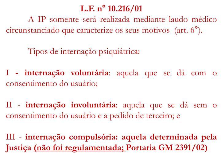 L.F. n° 10.216/01