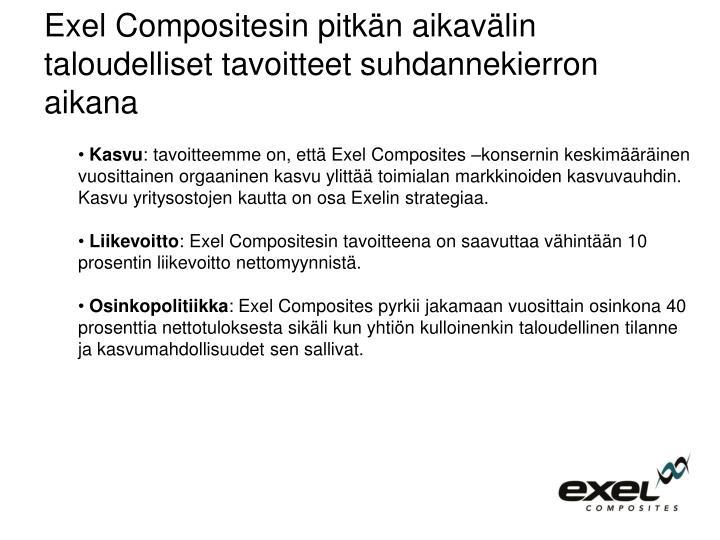 Exel Compositesin pitkän aikavälin taloudelliset tavoitteet suhdannekierron aikana