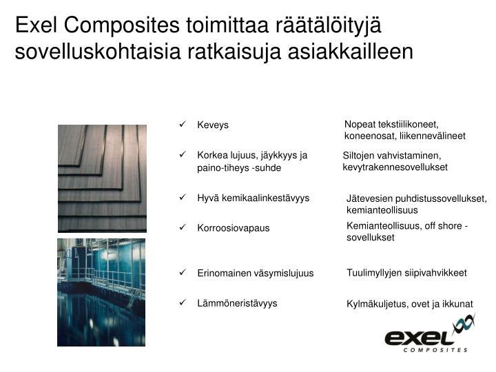 Exel Composites toimittaa räätälöityjä sovelluskohtaisia ratkaisuja asiakkailleen