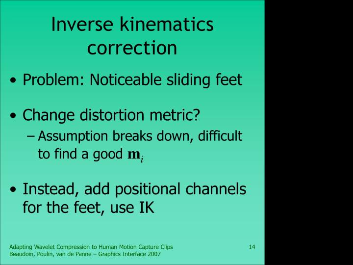 Inverse kinematics correction