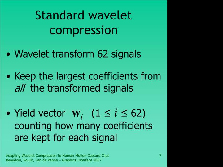 Standard wavelet compression