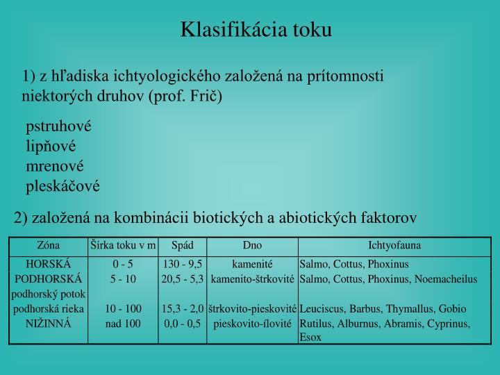 Klasifikácia toku