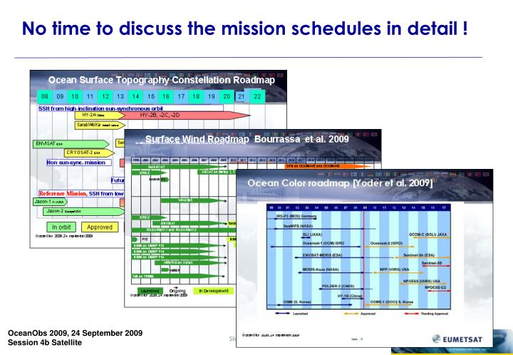 No time to discuss the mission schedules in detail !