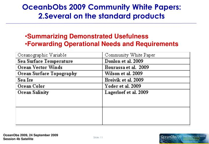 OceanbObs 2009 Community White Papers: