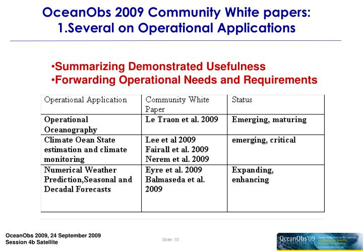 OceanObs 2009 Community White papers: