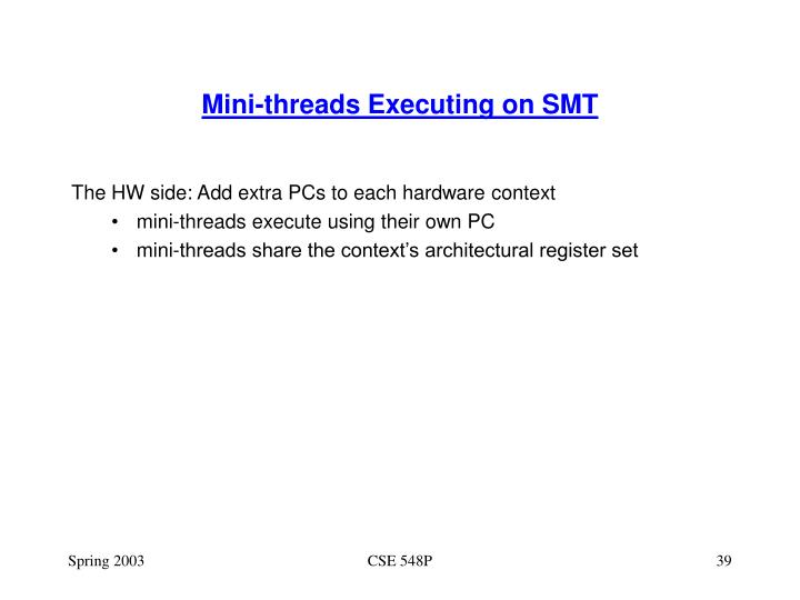 Mini-threads Executing on SMT