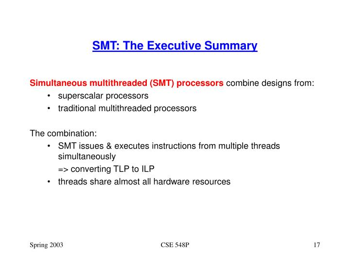 SMT: The Executive Summary