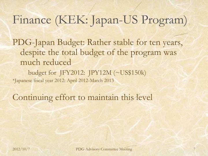 Finance (KEK: Japan-US Program)