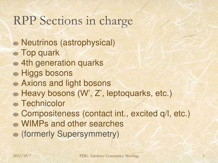 Rpp sections in charge