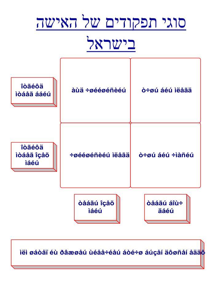 סוגי תפקודים של האישה בישראל