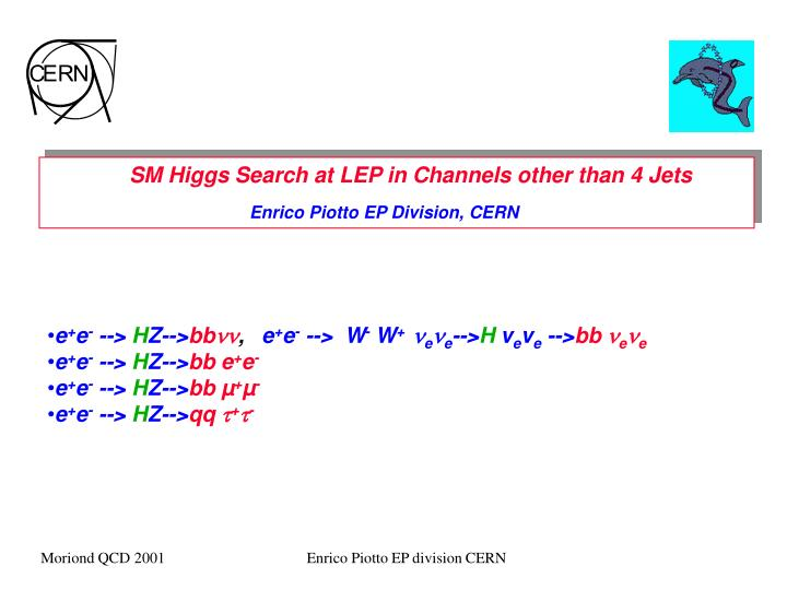 SM Higgs Search at LEP in Channels other than 4 Jets