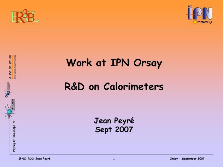 Work at IPN Orsay