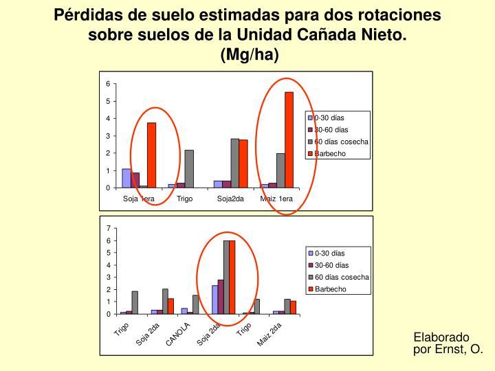 Pérdidas de suelo estimadas para dos rotaciones sobre suelos de la Unidad Cañada Nieto.