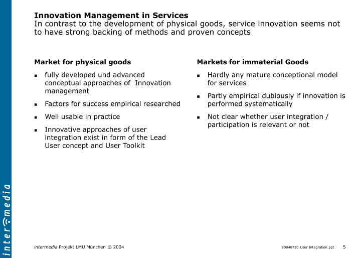 Innovation Management in Services