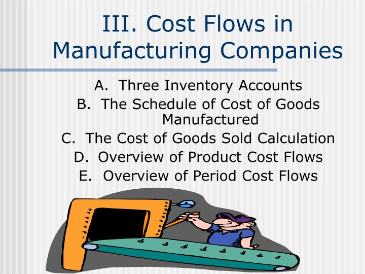 III. Cost Flows in Manufacturing Companies