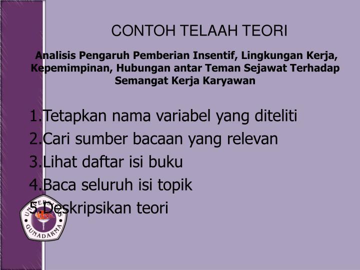 CONTOH TELAAH TEORI