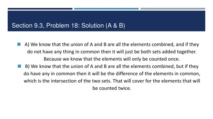 Section 9.3, Problem 18: Solution (A & B)