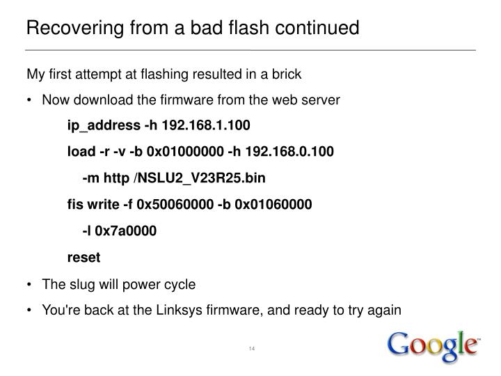 Recovering from a bad flash continued