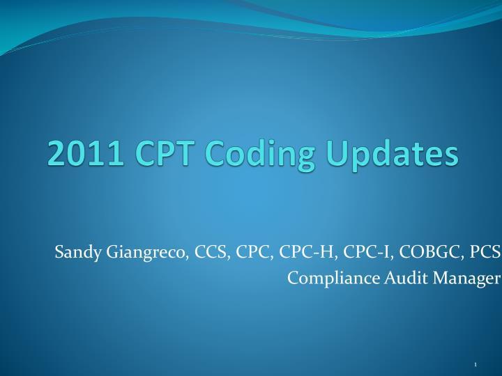 2011 CPT Coding Updates