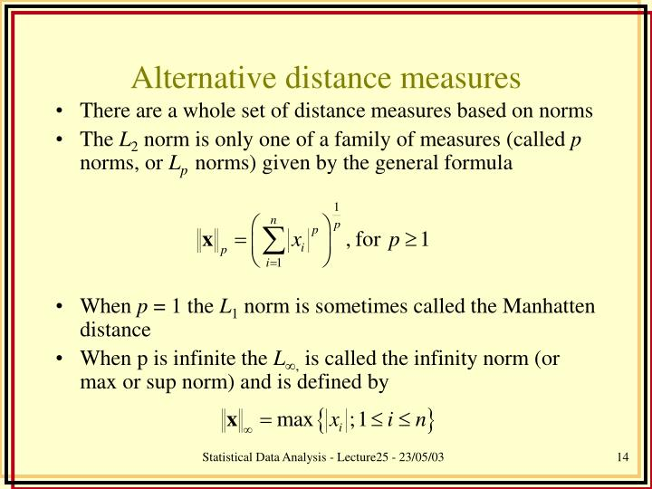 Alternative distance measures