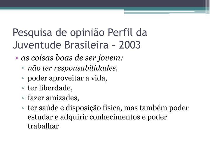 Pesquisa de opinião Perfil da Juventude Brasileira – 2003