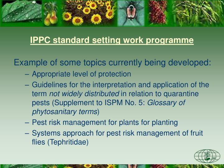 IPPC standard setting work programme