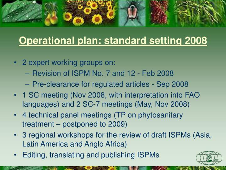 Operational plan: standard setting 2008