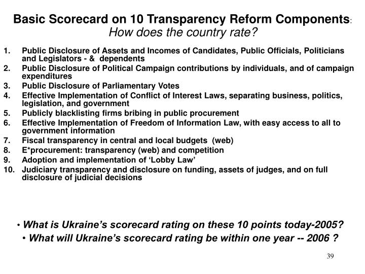Basic Scorecard on 10 Transparency Reform Components