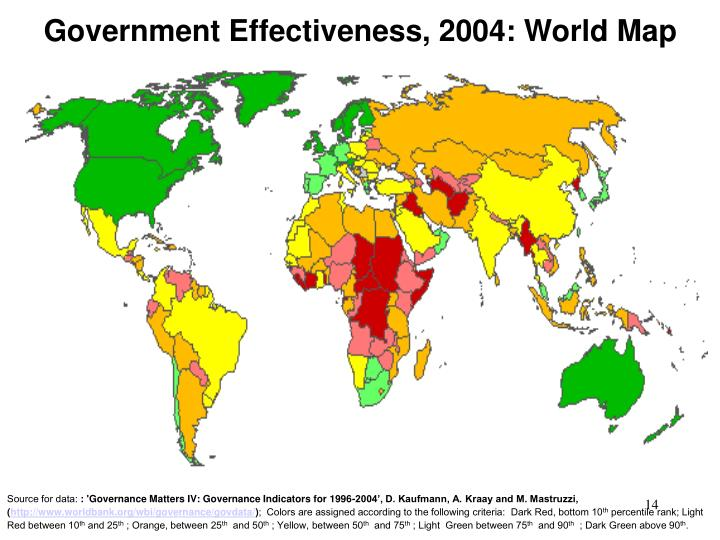 Government Effectiveness, 2004: World Map