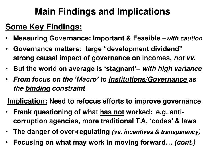 Main Findings and Implications