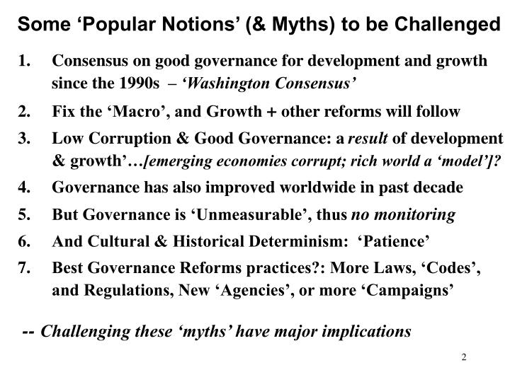 Some popular notions myths to be challenged