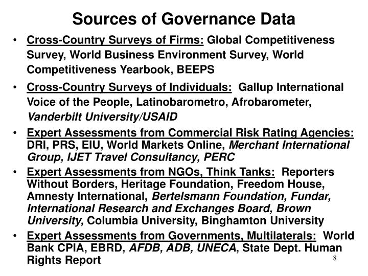 Sources of Governance Data