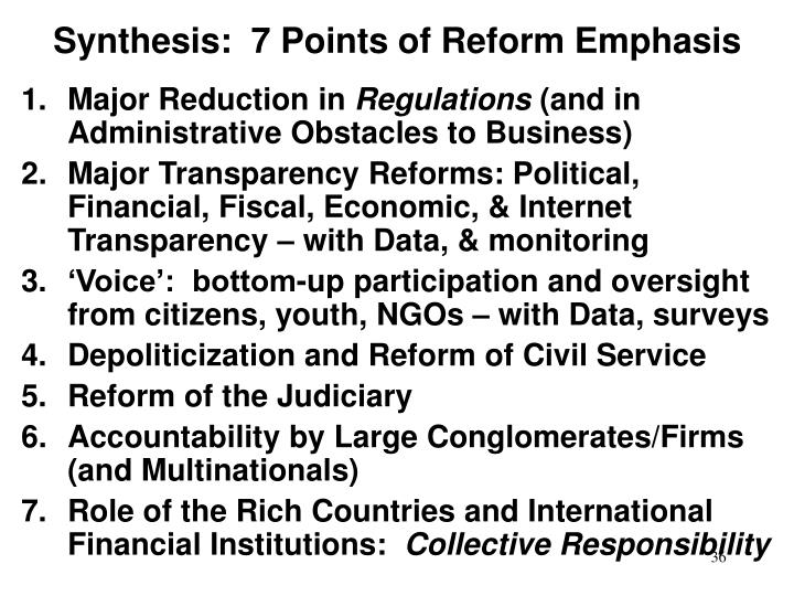 Synthesis:  7 Points of Reform Emphasis