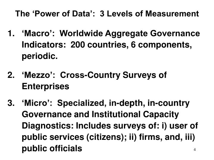 The 'Power of Data':  3 Levels of Measurement