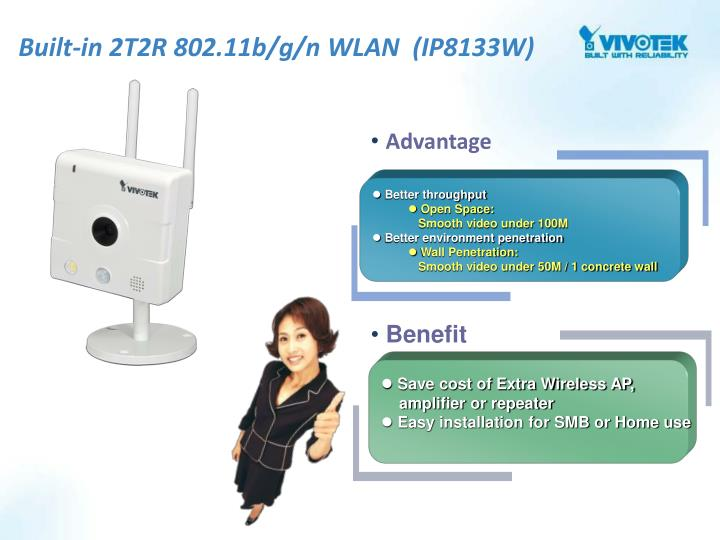 Built-in 2T2R 802.11b/g/n WLAN  (IP8133W)