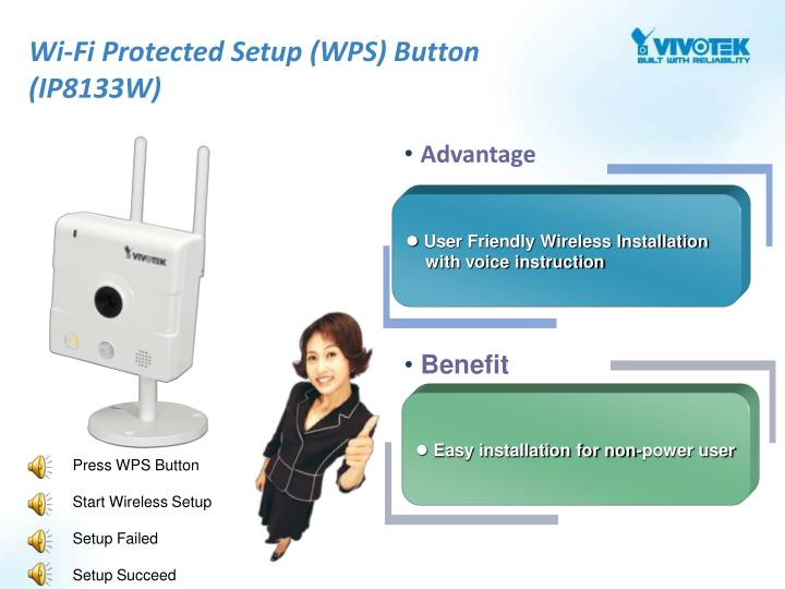 Wi-Fi Protected Setup (WPS) Button (IP8133W)
