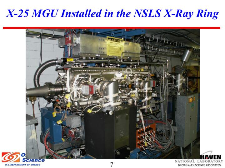 X-25 MGU Installed in the NSLS X-Ray Ring