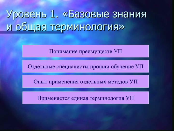 Уровень 1. «Базовые знания и общая терминология»