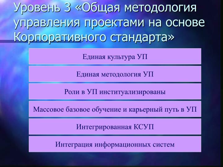 Уровень 3 «Общая методология управления проектами на основе Корпоративного стандарта»
