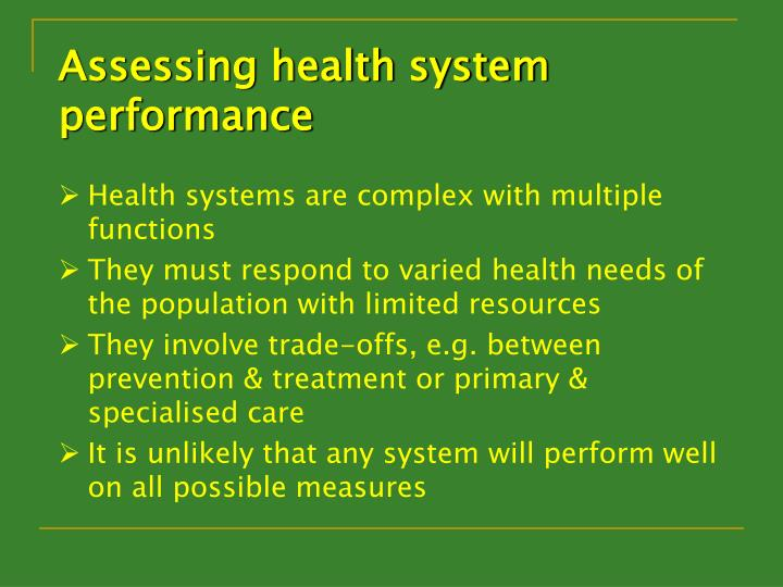 Assessing health system performance