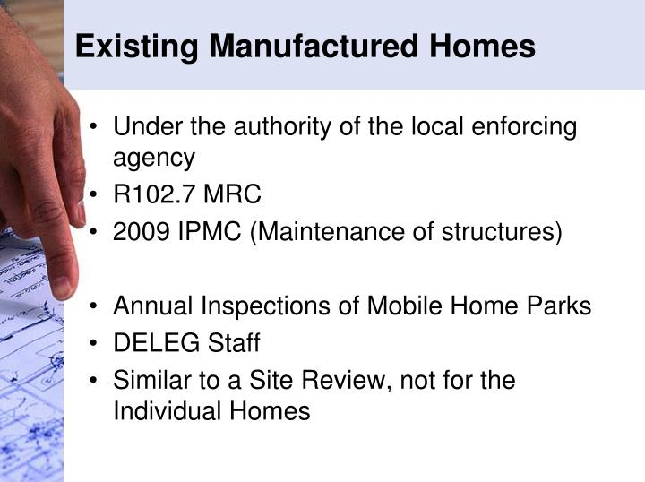 Existing Manufactured Homes
